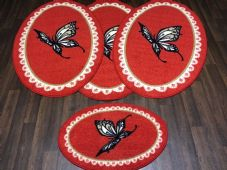 ROMANY GYPSYS WASHABLE NEW 2018 OVALS BUTTERFLYS NON SLIP CHRISTMAS RED/CREAM